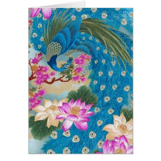 Peacock Lotus Greeting Card