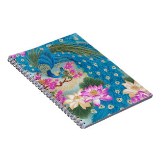 Peacock Lotus Spiral Notebook