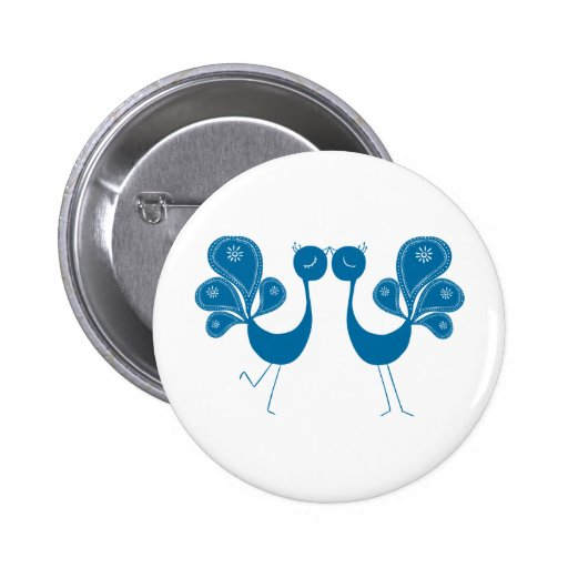 Peacock Love Aqua Button
