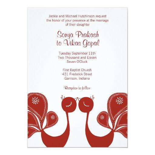 Peacock Love Wedding Invite - Crimson