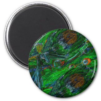 Peacock. 2 Inch Round Magnet