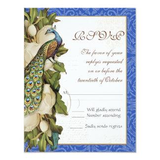 Peacock Magnolia Floral Swirl Damask Wedding RSVP Card