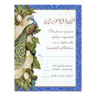 "Peacock Magnolia Floral Swirl Damask Wedding RSVP 4.25"" X 5.5"" Invitation Card"