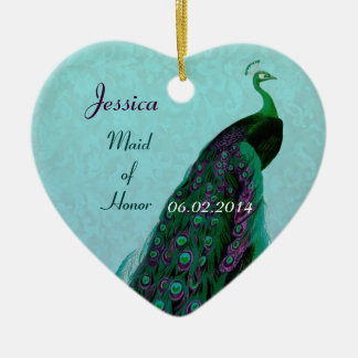 Peacock Maid of Honor Thank You Wedding Favor Ceramic Ornament