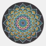 Peacock Mandala 丸形シールステッカー