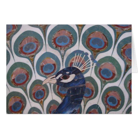 Peacock Marble Inlay Card
