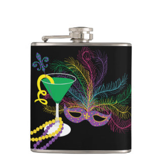 Peacock Mask and Martini Mardi Gras Hip Flask