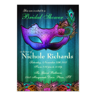 peacock masquerade bridal shower invitation