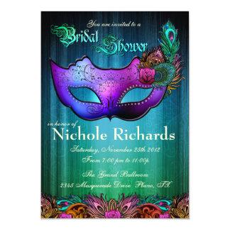 """Peacock Masquerade Bridal Shower Invitation 5"""" X 7"""" Invitation Card"""