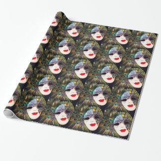 Peacock Masquerade Mardi Gras Mask Wrapping Paper