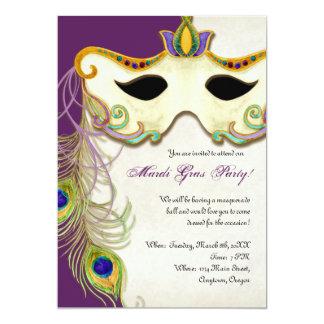 Peacock Masquerade Mask Ball - Mardi Gras Party Card