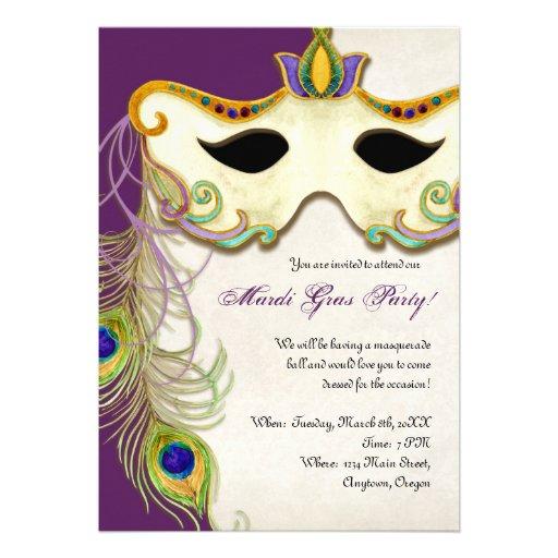 Peacock Masquerade Mask Ball - Mardi Gras Party 5x7 Paper Invitation ...