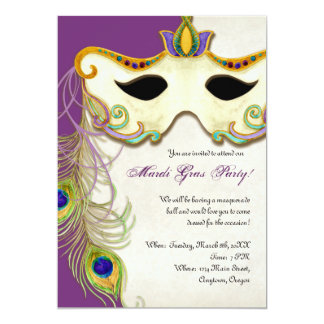Peacock Masquerade Mask Ball - Mardi Gras Party Personalized Announcement