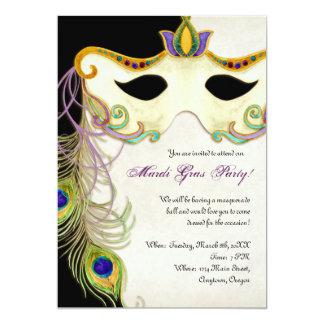 Peacock Masquerade Mask Ball - Mardi Gras Party Custom Invites