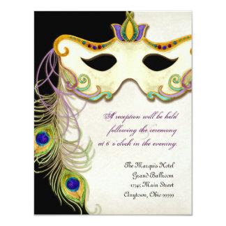 Peacock Masquerade Mask Ball, Reception Invitation