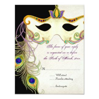 Peacock Masquerade Mask Ball - RSVP Response Card