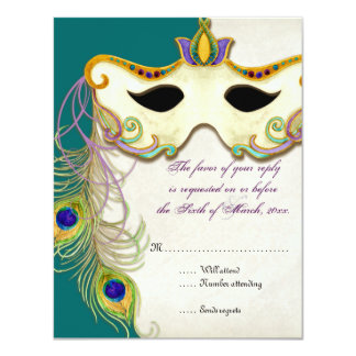Peacock Masquerade Mask Ball - RSVP Response Card Personalized Invite