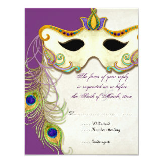 Peacock Masquerade Mask Ball - RSVP Response Card Personalized Announcements