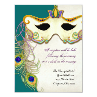 Peacock Masquerade Mask Ball - RSVP Response Card Personalized Announcement