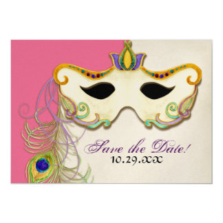 Peacock Masquerade Mask Ball - Save the Date Card