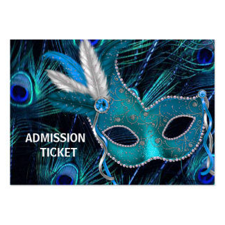 Peacock Masquerade Party Admission Tickets Large Business Card