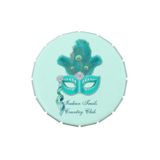 Peacock Masquerade Party Ball Turquoise Feathers Candy Tins