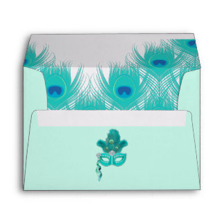 Peacock Masquerade Party Ball Turquoise Feathers Envelope