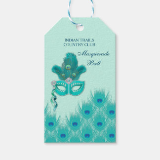 Peacock Masquerade Party Ball Turquoise Feathers Gift Tags