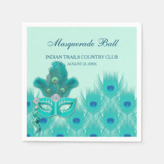 Peacock Masquerade Party Ball Turquoise Feathers Paper Napkin