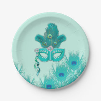 Peacock Masquerade Party Ball Turquoise Feathers Paper Plate