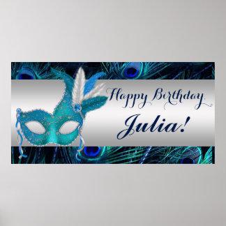 Peacock Masquerade Party Poster