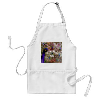 Peacock missing you adult apron