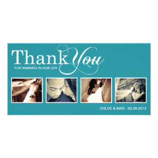 PEACOCK MODERN THANKS | WEDDING THANK YOU CARD PHOTO CARD