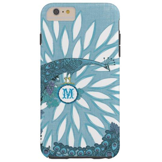 Peacock Monogram Modern Flower Teal iPhone Case