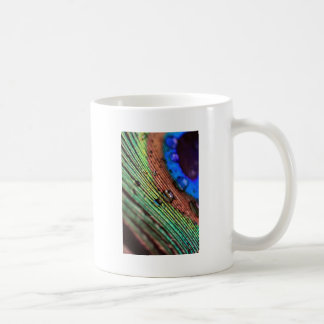 Peacock more feather with more water droplets coffee mug
