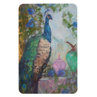 Peacock Morning Glory Rectangle Magnets