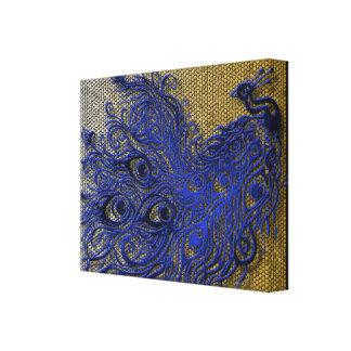 Peacock Mosaic Blue ~Gold/Silver Canvas Print