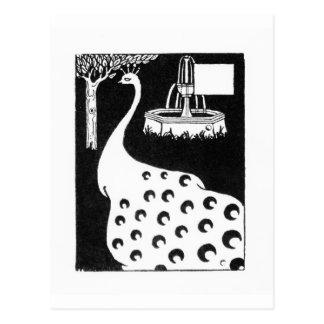 Peacock motif, from 'Le Morte d'Arthur' (litho) Postcard