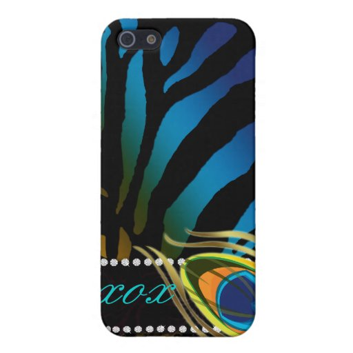 Peacock 'n Lace Zebra iPhone 4 Cover blue gold