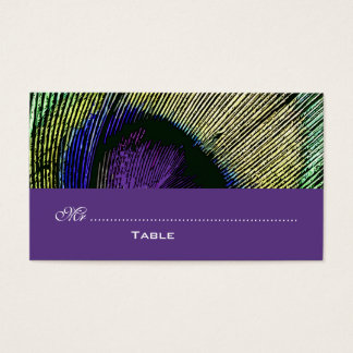 Peacock n purple party place business card