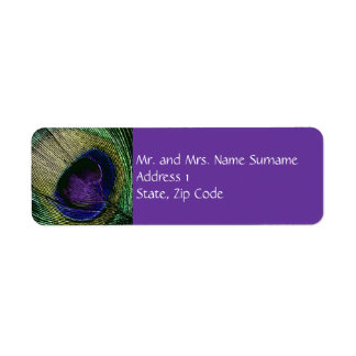 Peacock n purple wedding engagement label