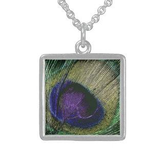 Peacock n purple wedding favors square pendant necklace