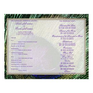 Peacock n purple wedding program template flyer