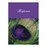Peacock n purple wedding response rsvp 5x7 paper invitation card