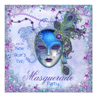 Peacock New Years Masquerade Party Card