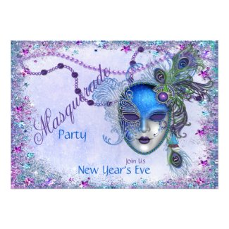 Peacock New Years Masquerade Party Custom Announcements