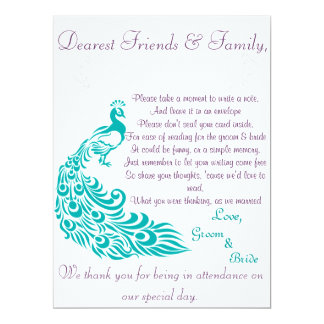 Peacock Note Station Welcome Letter 6.5x8.75 Paper Invitation Card