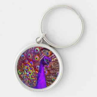 Peacock Of A Million Colors Silver-Colored Round Keychain