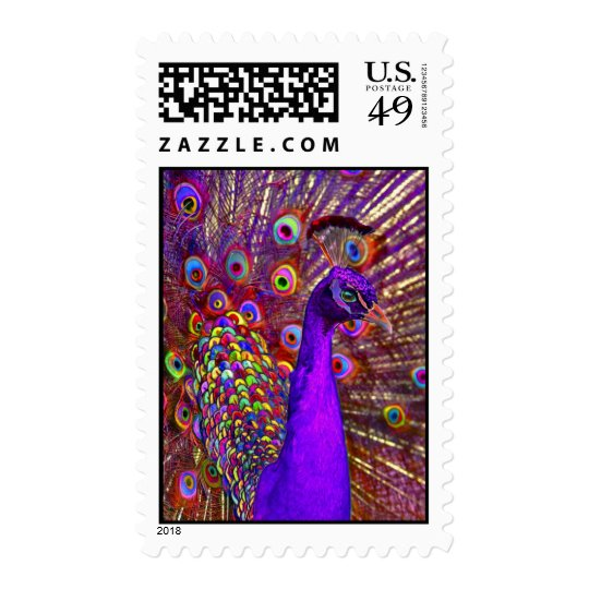 peacock of a million colors postage
