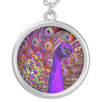 Peacock Of A Million Colors Silver Plated Necklace